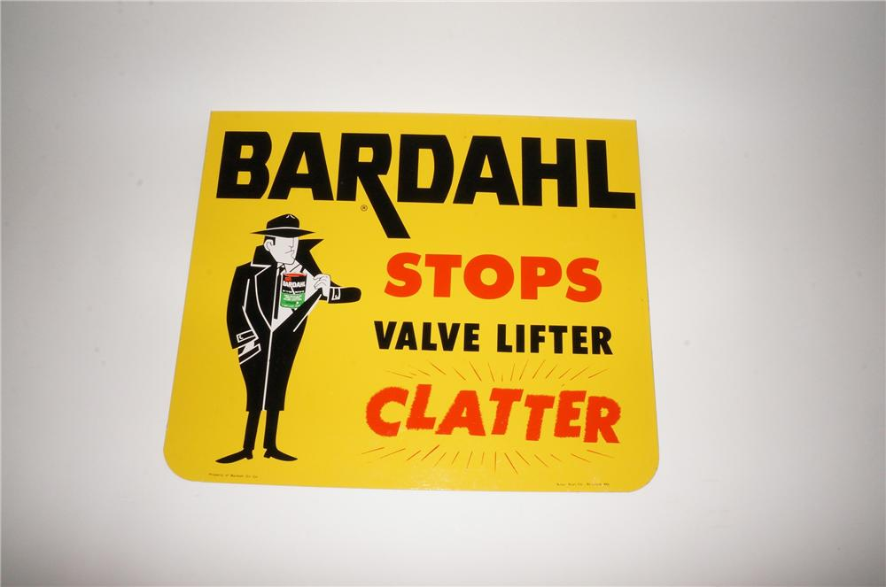 "N.O.S. Bardahl Stop Valve Lifter ""Clatter"" automotive tin sign with nice graphics. - Front 3/4 - 139760"