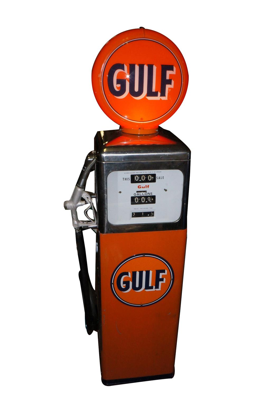 Older restoration Gulf Oil Southwest Model #1 service station gas pump. - Front 3/4 - 139765