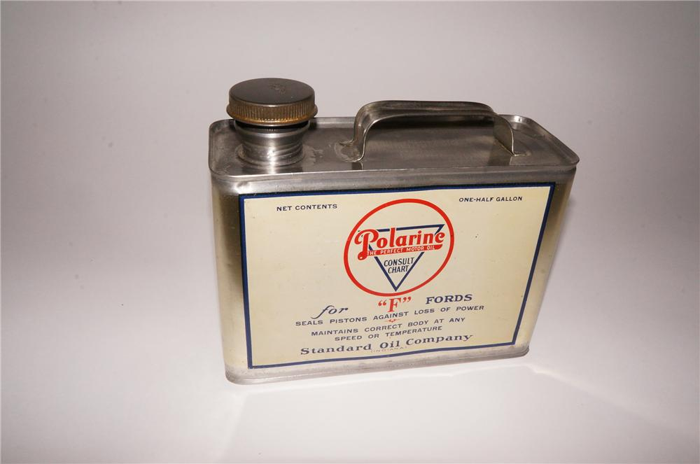 "Sharp 1920s Polarine For ""F"" Fords one-half gallon solder seamed oil tin. - Front 3/4 - 139766"
