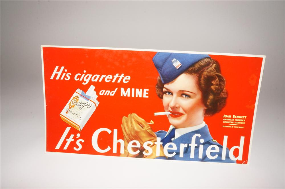 N.O.S. 1940s Chesterfield Cigarettes cardboard sign featuring Actress Joan Bennett. - Front 3/4 - 139770