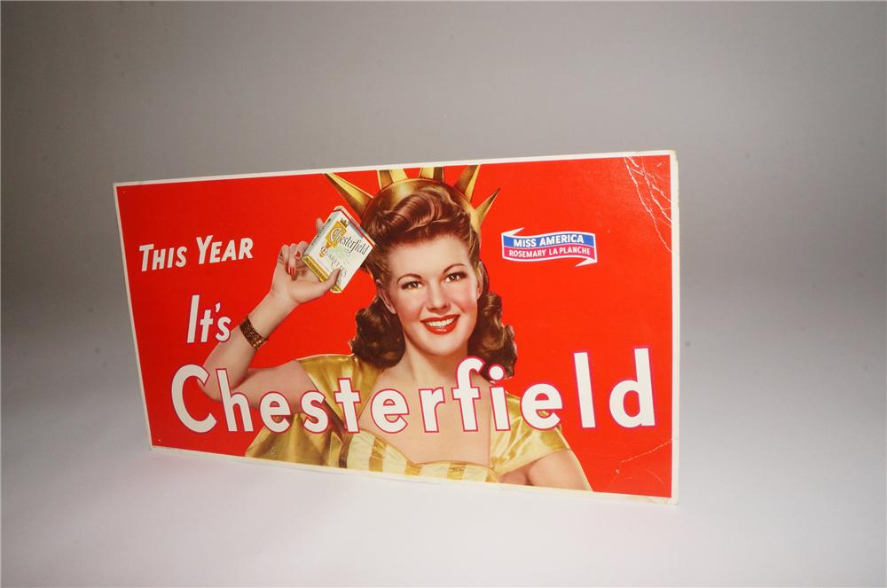 Funny N.O.S. 1940s Chesterfield Cigarettes cardboard sign featuring Miss America Rosemary La Planche. - Front 3/4 - 139771