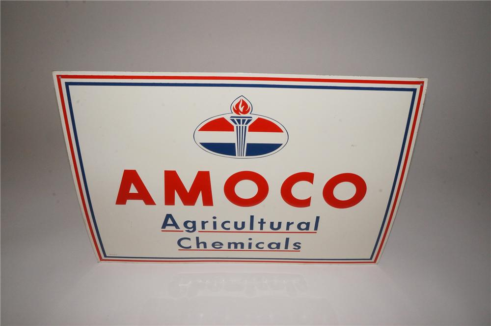 N.O.S. 1950s Amoco Agricultural Chemicals embossed tin dealership sign. - Front 3/4 - 139772