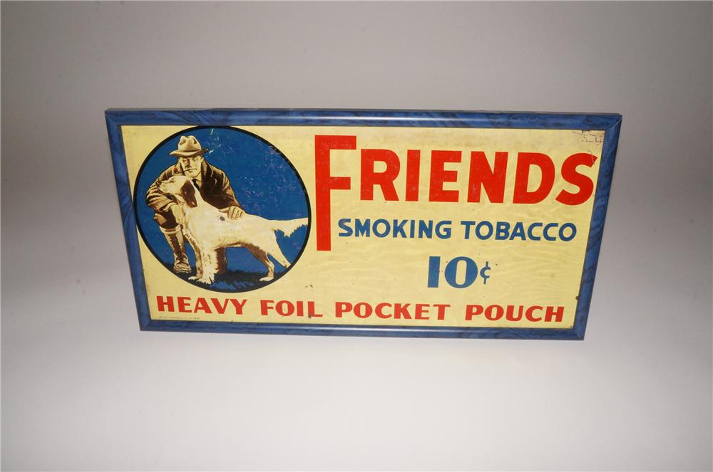 1930s Friends Smoking Tobacco tin sign with nice hunting dog graphics. - Front 3/4 - 139773