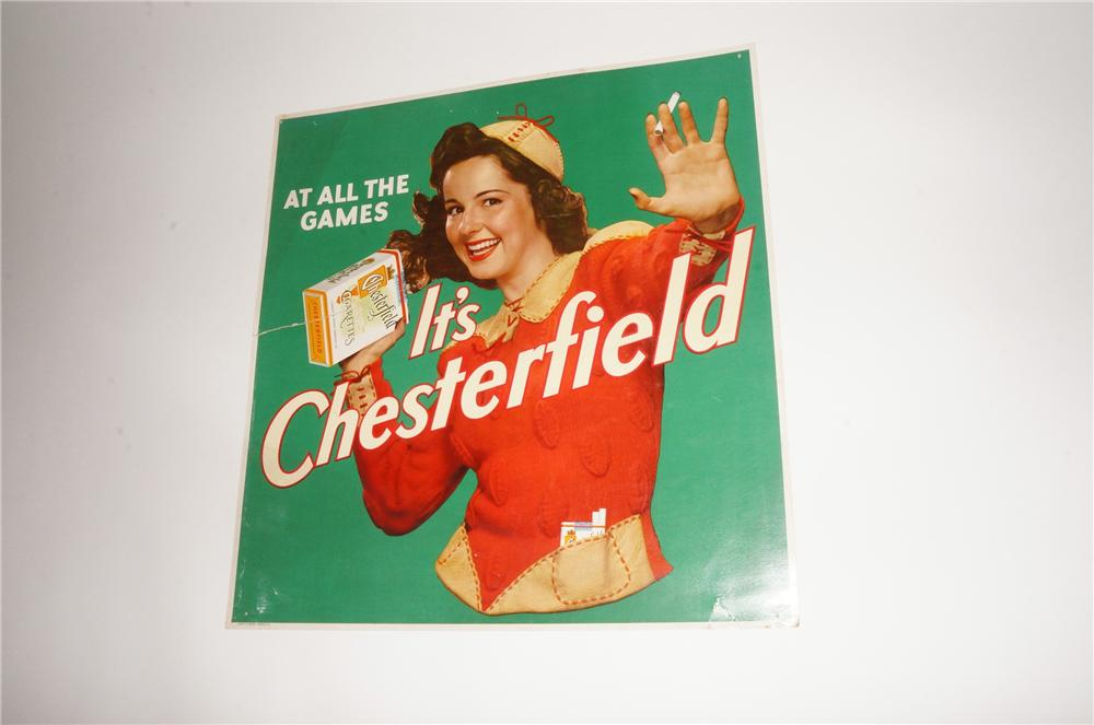 Choice 1940s Chesterfield Cigarettes cardboard featuring a football girl. - Front 3/4 - 139774