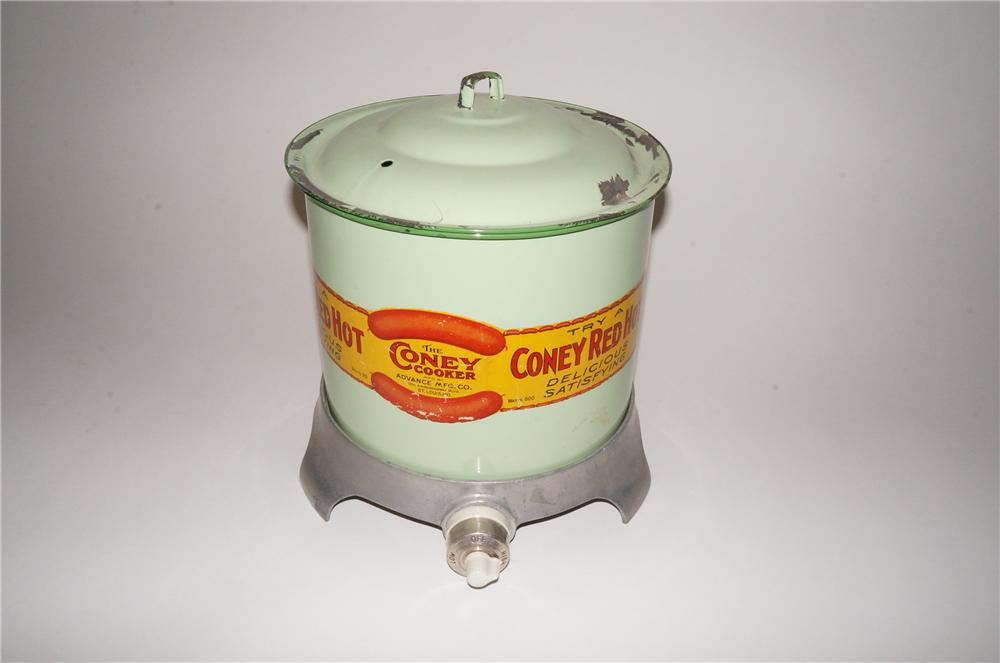 1920s-30s The Coney Red Hot Cooker diner counter-top diplay cooker with porcelain finish.  All original! - Front 3/4 - 139776