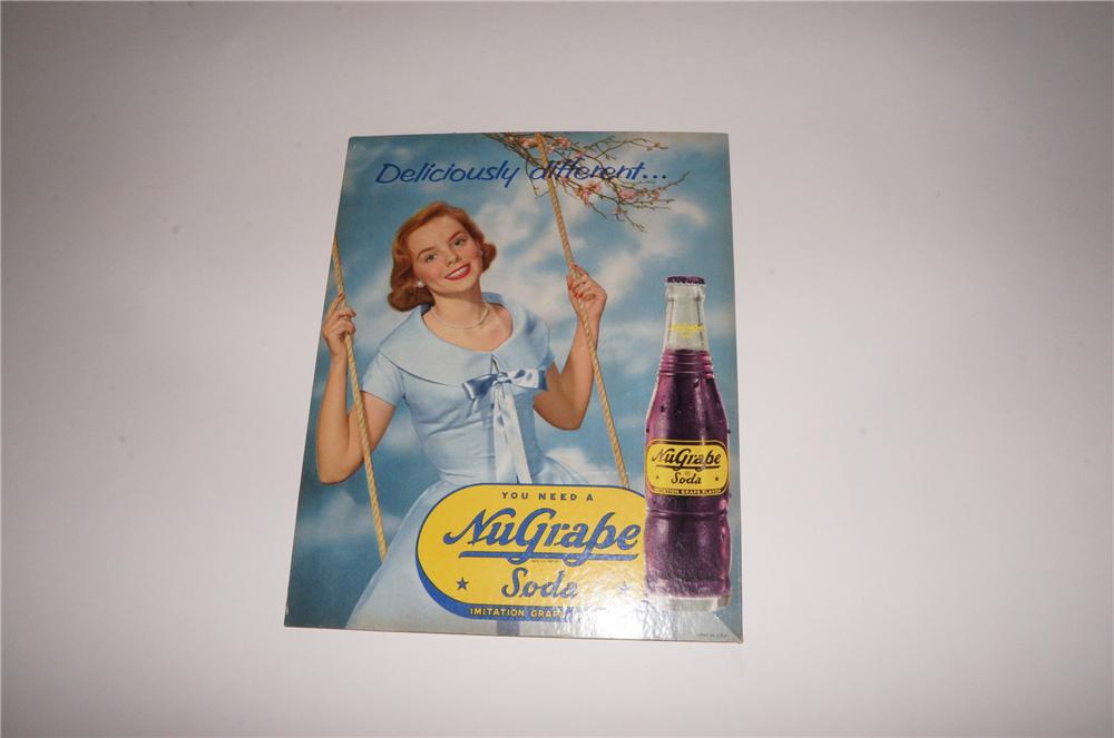 "N.O.S. 1950s Nugrape ""Deliciously Different"" single-sided cardboard sign with nice bottle graphic. - Front 3/4 - 139777"
