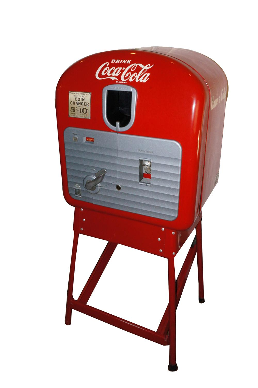 Rare all original 1940s Vendo 27 ten cent coin-operated soda machine on stand.  An amazing find. - Front 3/4 - 139778