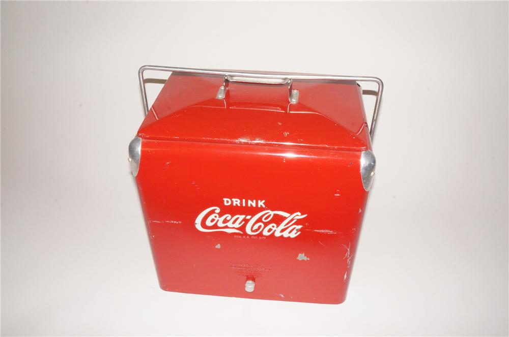 All original 1950s Drink Coca-Cola picnic cooler with tray inside. - Front 3/4 - 139781