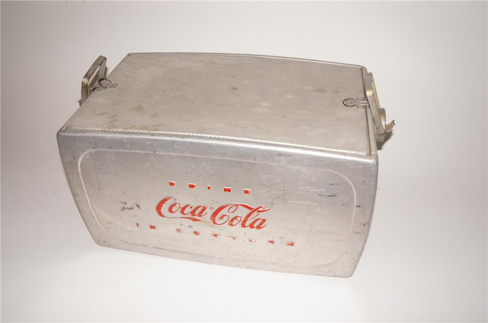 Unsual late 1950s Drink Coca-Cola in Bottles aluminum picnic cooler with embossed lettering. - Front 3/4 - 139782