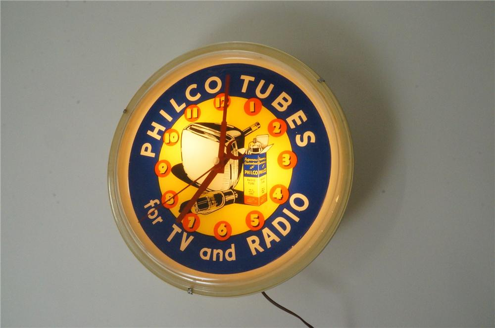 Nifty 1950s Philco Tubes for TV and Radio light-up dealer clock. - Front 3/4 - 139784