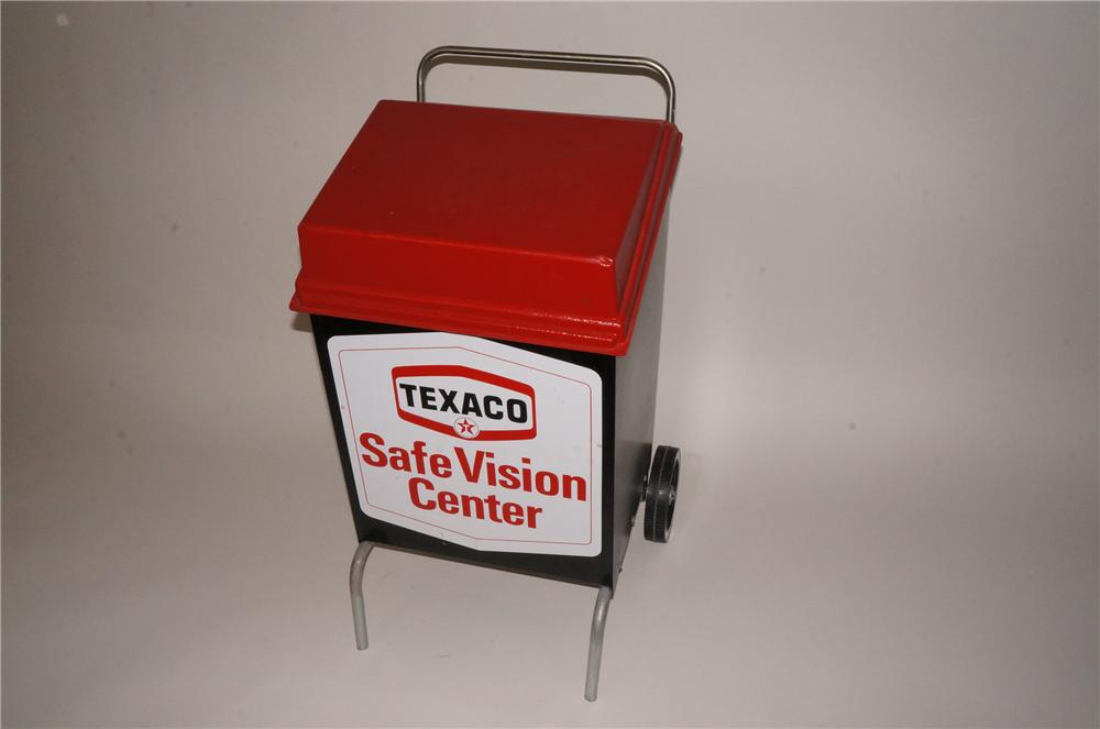 Fabulous 1960s Texaco Safe Vision Center windshield wiper service cabinet on wheels. - Front 3/4 - 139790