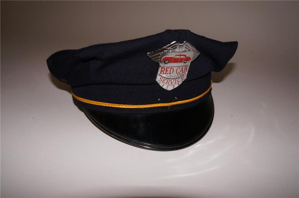 Cool 1950s Red Cab Service drivers hat found all original! - Front 3/4 - 139794