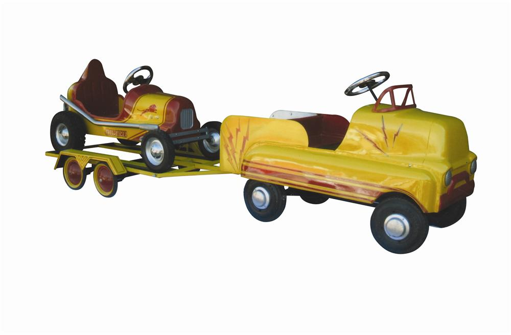 Fantastic 1960s Beautifully restored Gilmore Racer pedal car with tuck/trailer hauler. - Front 3/4 - 139795