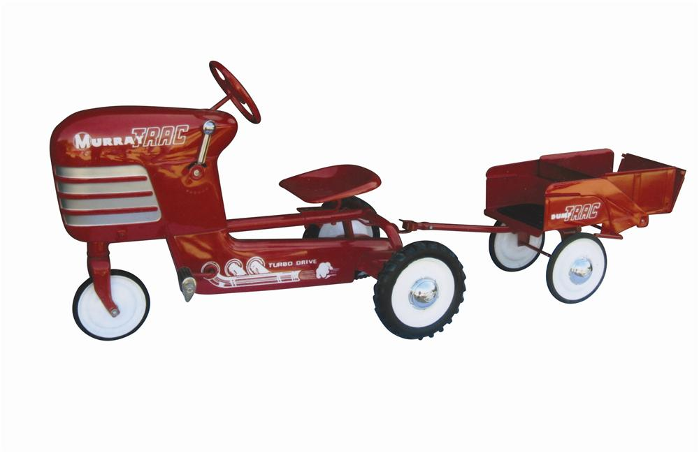 Beautifully restored 1950s Murray Trac Ride pedal tractor with wagon.  Restored to factory condition. - Front 3/4 - 139797