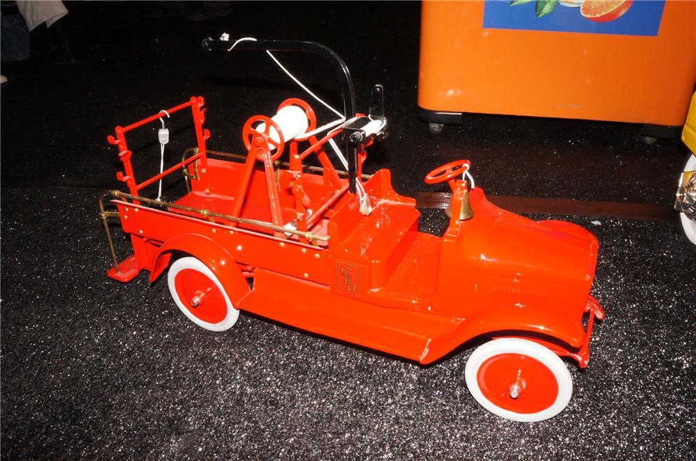 Rare 1926 Sturdy Toys Pumper/Hose Chemical Fire Truck.  Great restoration in bright red. - Front 3/4 - 139807