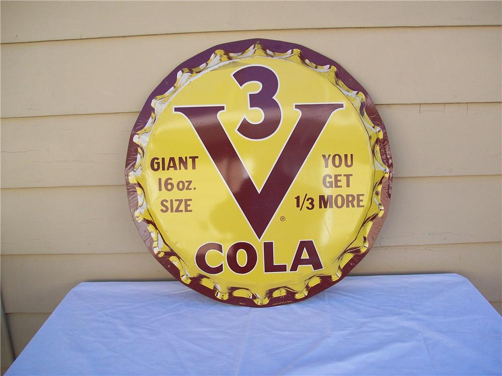 Late 1950s V3 Cola die-cut tin bottle cap shaped soda sign. - Front 3/4 - 139819