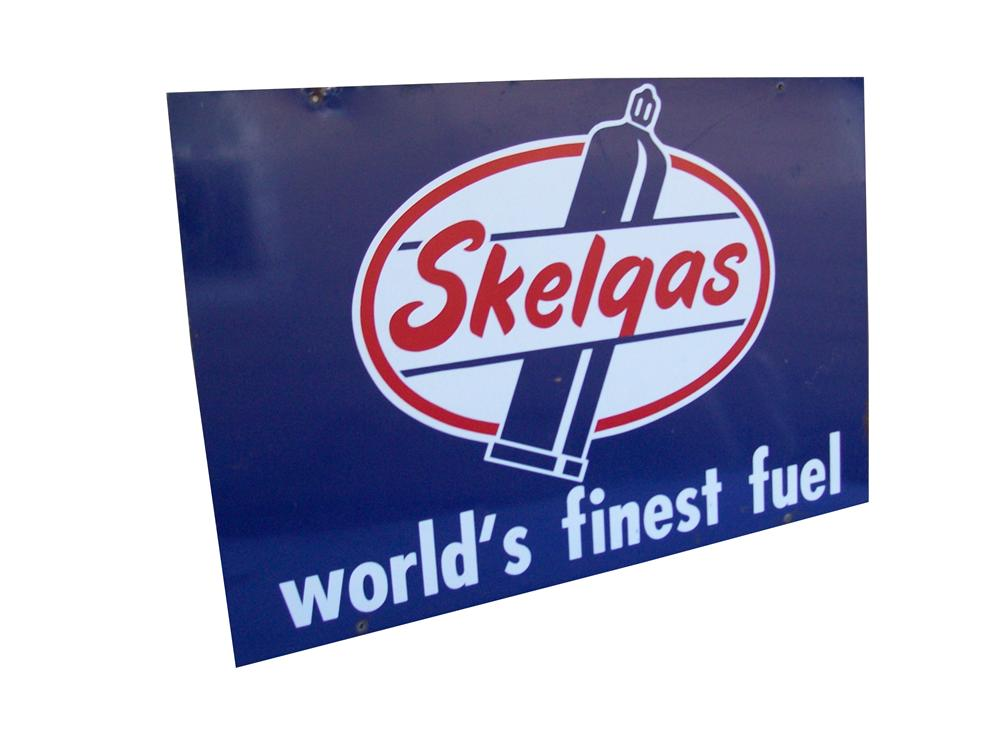 Vintage Skelgas double-sided tin painted sign with bottle gas graphics. - Front 3/4 - 139820