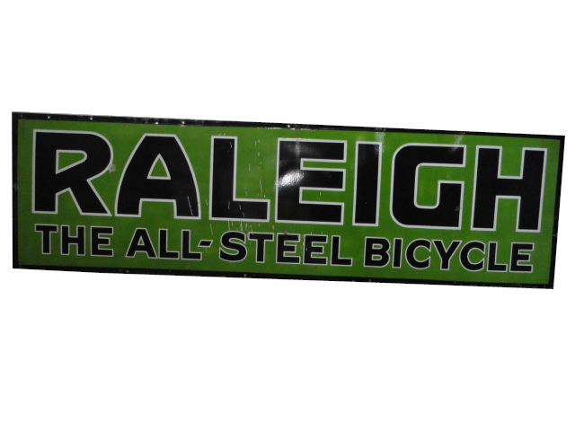 "Rare 1930s Raleigh ""The All-Steel Bicycle"" porcelain dealership sign. - Front 3/4 - 139826"
