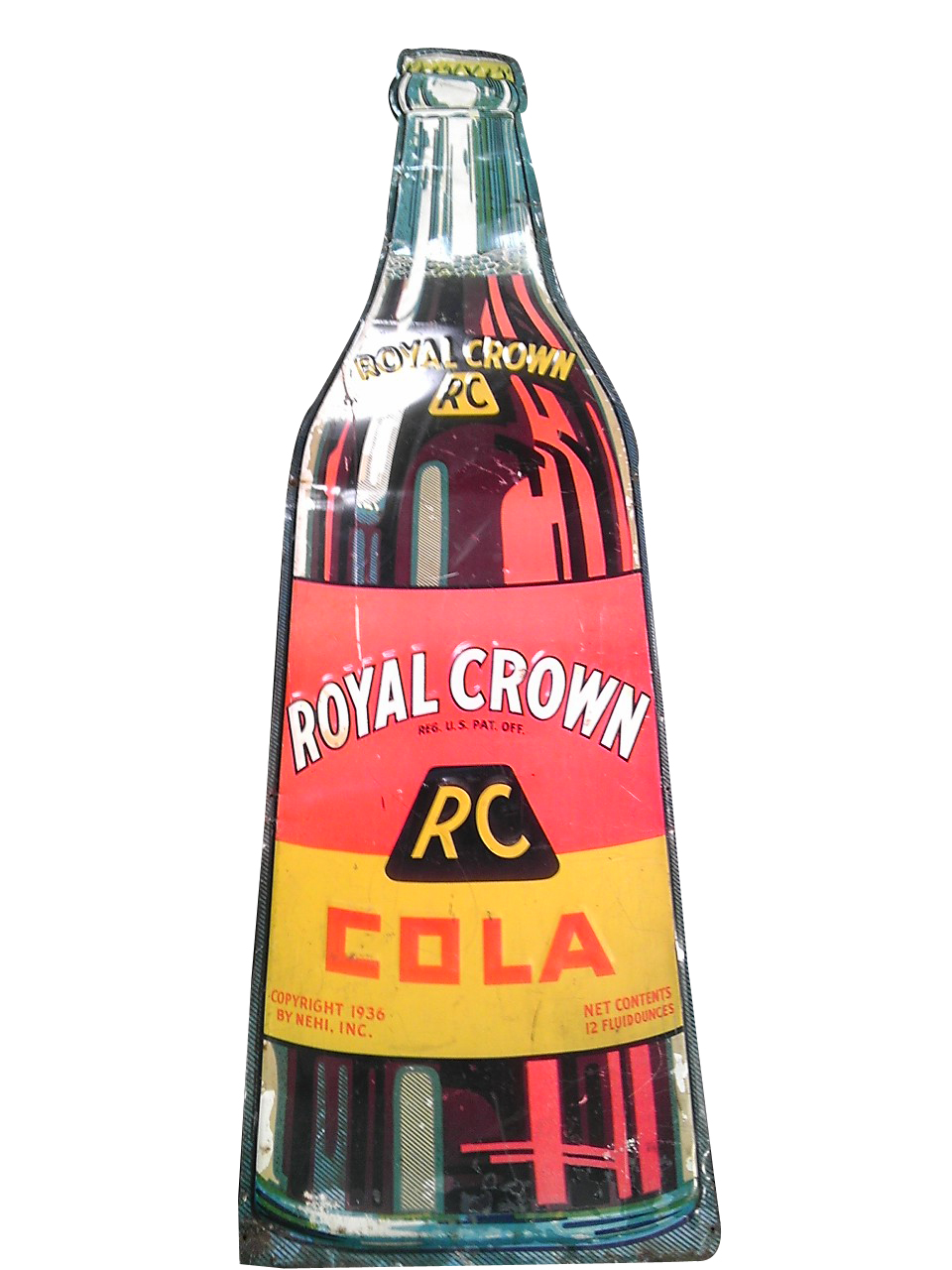 Fabulous 1950s Royal Crown Cola die-cut tin bottle shaped soda sign. - Front 3/4 - 139829