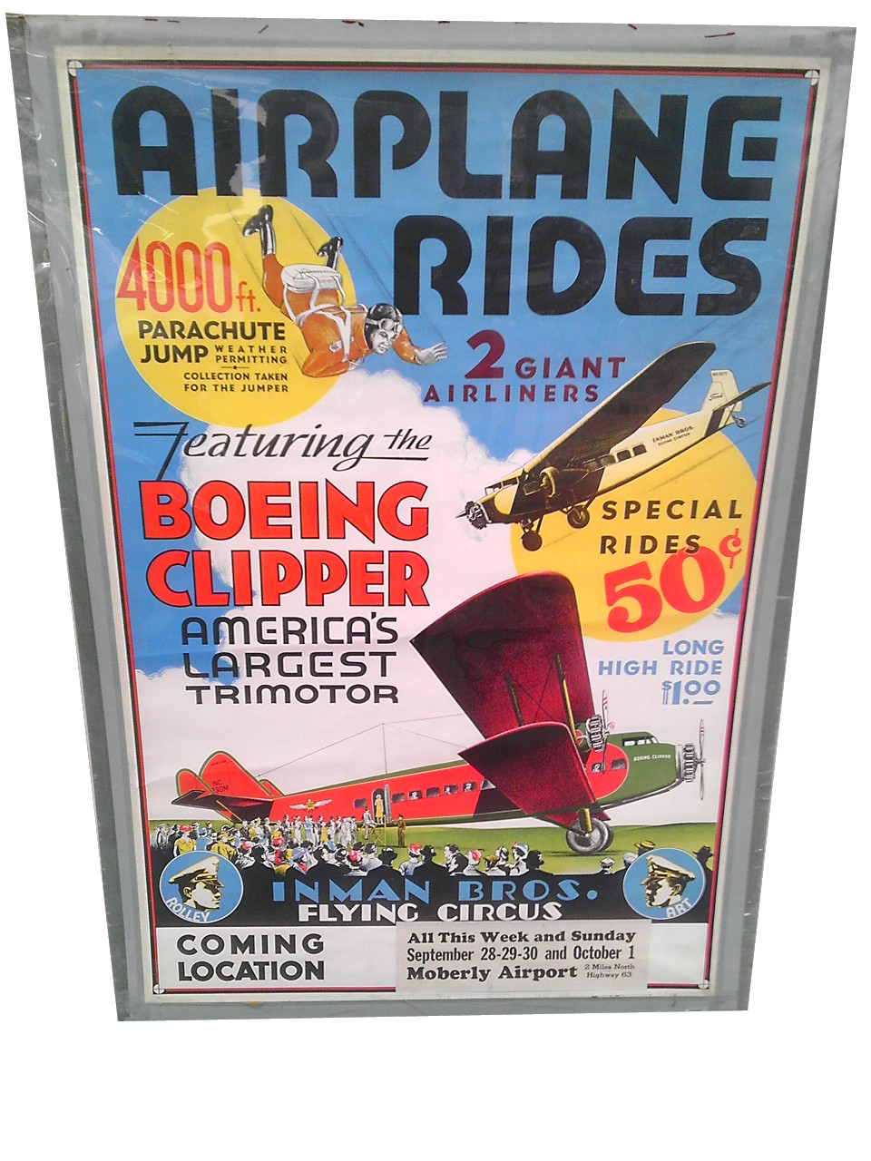 Outstanding 1930s Inman Brothers Flying Circus Aviation poster with amazing graphics and colors. - Front 3/4 - 139830