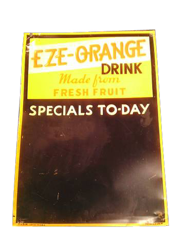Choice 1930s EZE-Orange Drink tin painted diner menu board. - Front 3/4 - 139831