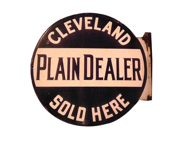 1930s Cleveland Plain Dealer Sold Here double-sided porcelain flange sign. - Front 3/4 - 139832