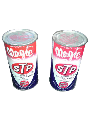 Lot of two vintage N.O.S STP Magic Gasoline additive tins still full. - Front 3/4 - 139834