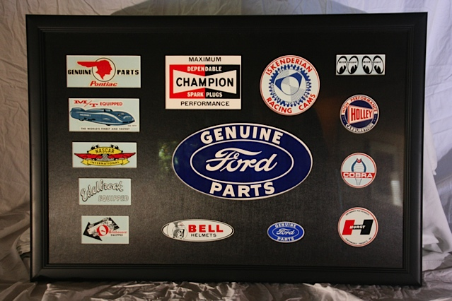 Nice collection of 1960s Original Racing Decals framed under glass. - Front 3/4 - 139838