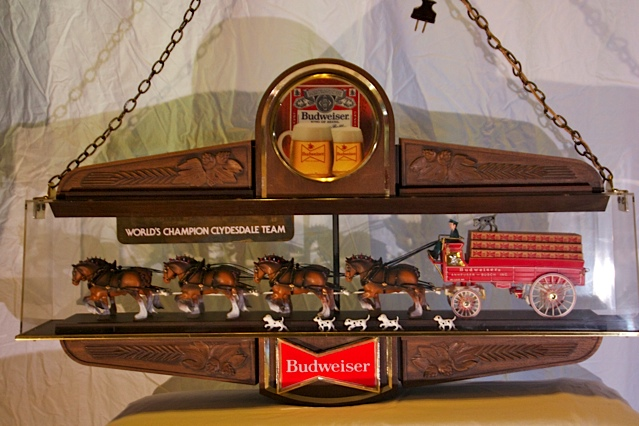 Rare lighted Classic Budweiser World Champion Clydesdale Team and Beer Wagon. - Front 3/4 - 139841