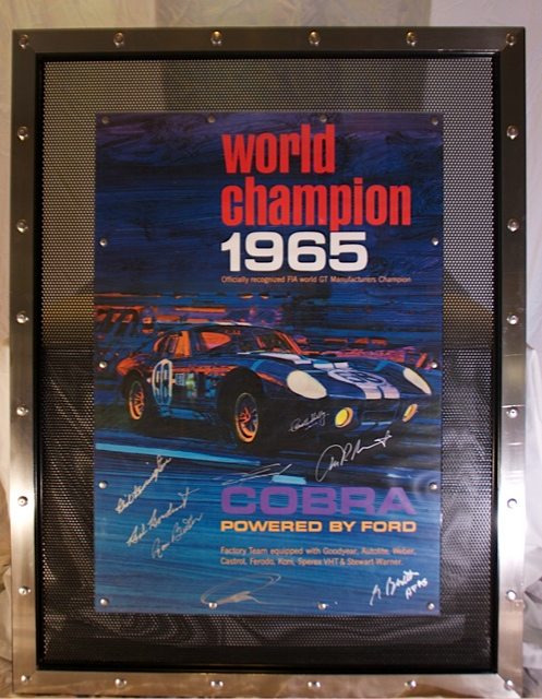 1965 World Champion Poster in one of a kind all metal frame.  Many original signatures including Carroll Shelby. - Front 3/4 - 139844