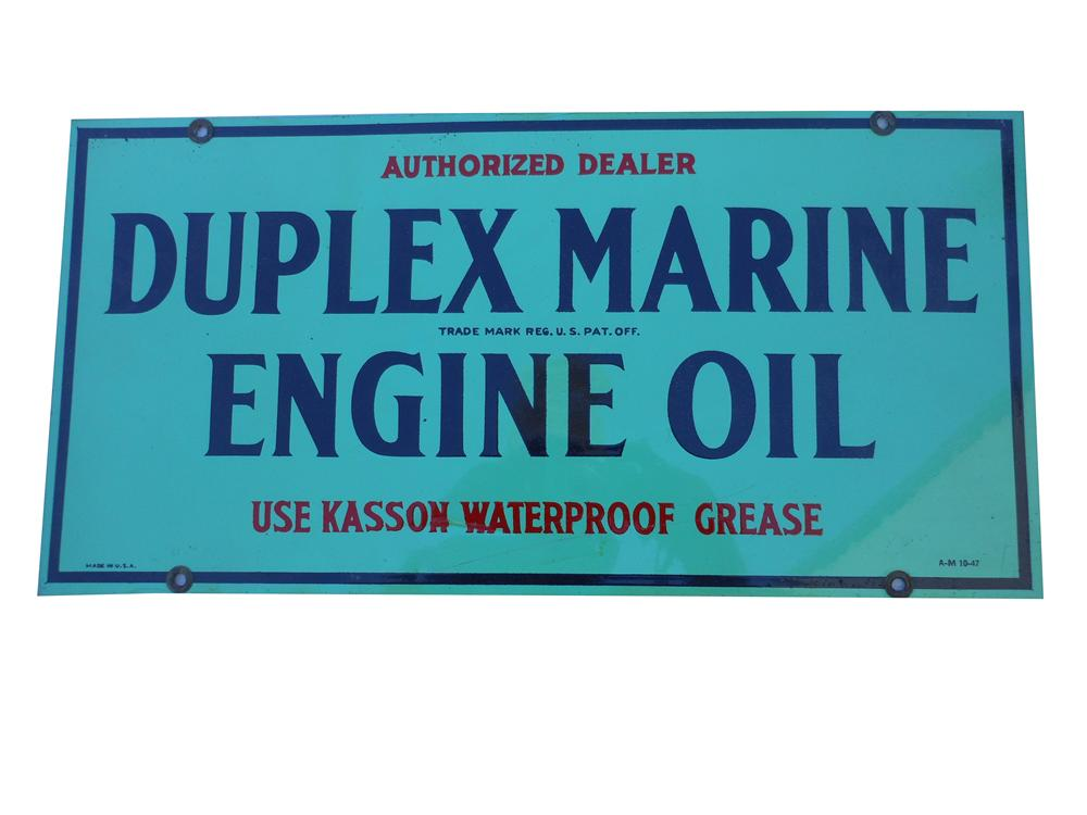 Rare 1947 Duplex Marine Engine Oil painted tin sign. - Front 3/4 - 139848