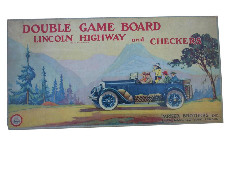 1925 Parker Brothers Lincoln Highway and Checkers board game. - Front 3/4 - 139850