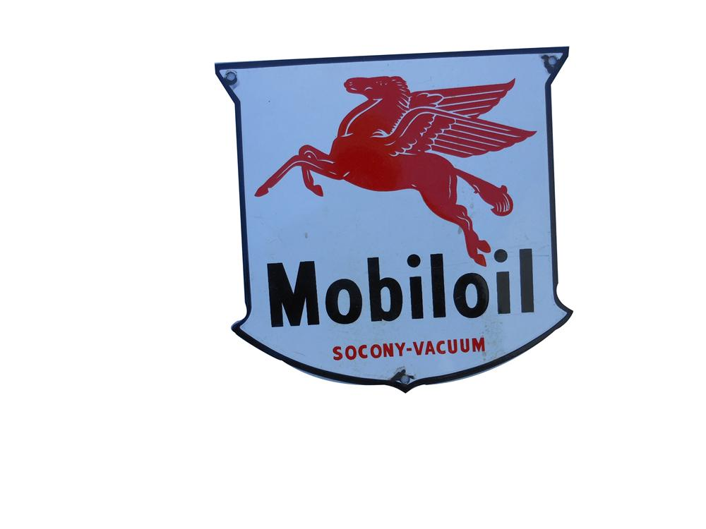 Highly desirable 1930s Mobil Oil porcelain oil rack plate sign. - Front 3/4 - 139852