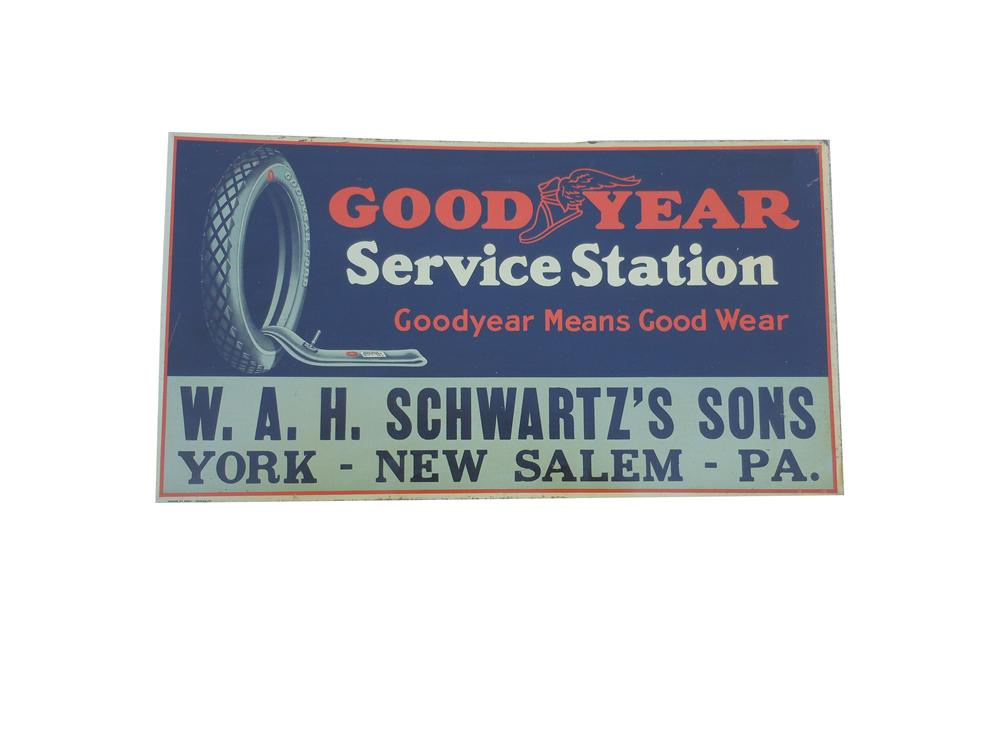 Superlative 1920s-30s Goodyear Service Station tin sign with nice graphics. - Front 3/4 - 139857