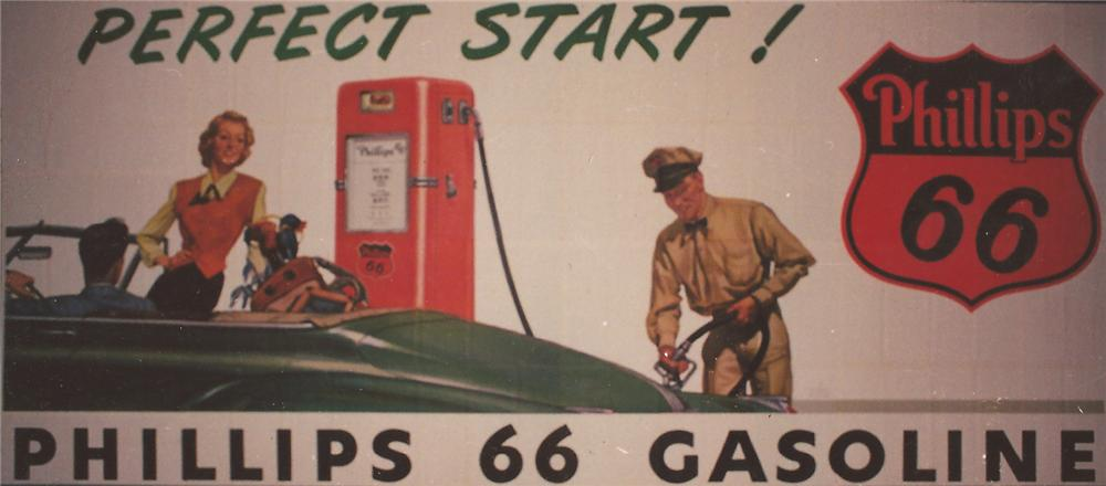 Killer N.O.S. Phillips 66 Oil roadside billboard sign featuring period service station artwork. - Front 3/4 - 139866