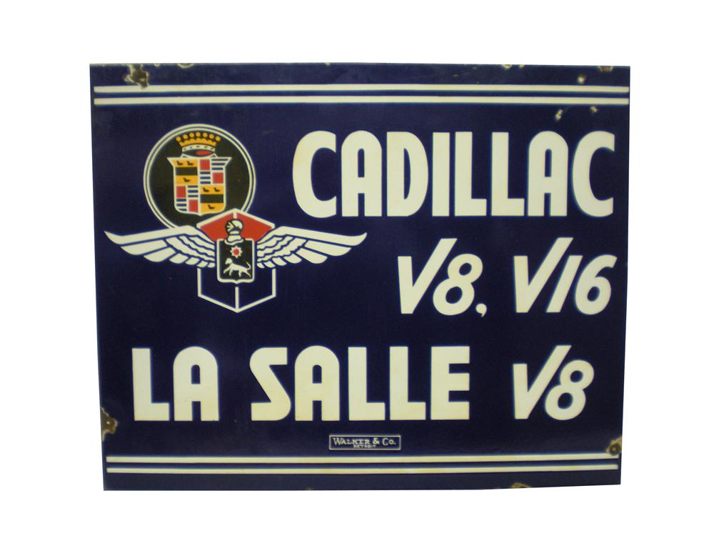 Extremely rare 1930s Cadillac-LaSalle double-sided porcelain dealesrhip sign. - Front 3/4 - 139869