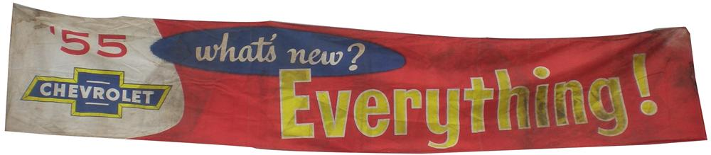 Neat 1955 Chevrolet sales lot canvas dealer banner.  Extremely hard to find! - Front 3/4 - 139870