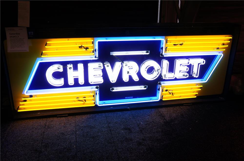 Stunning 1950s Chevrolet single-sided neon porcelain dealership sign. - Front 3/4 - 139872