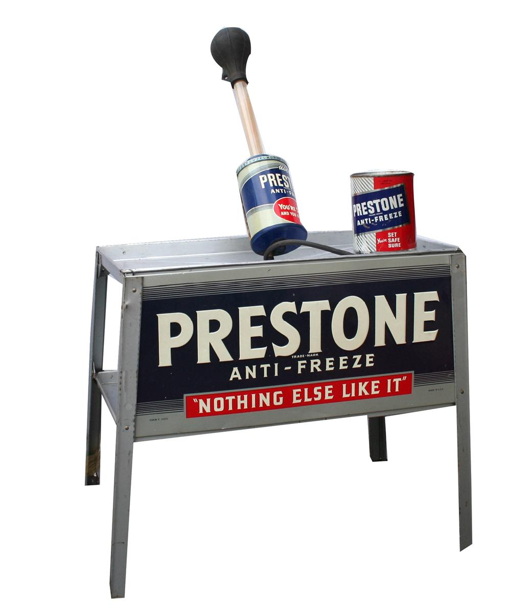 Lot of 1940s Prestone Anti-Freeze garage items consisting of an anti-freeze display rack, tester and period can. - Front 3/4 - 139876