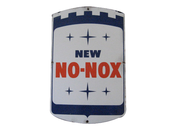 Late 1950s Gulf New No-Nox porcelain pump plate sign. - Front 3/4 - 139879