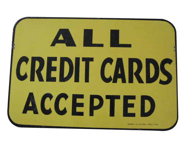 """Very clean Cliff Brice Oil station """"All Credit Cards Accepted"""" single-sided porcelain service station sign. - Front 3/4 - 139880"""