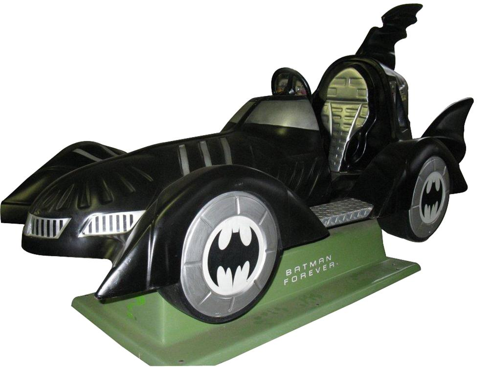 Fun late model Batman Forever coin-operated kiddie ride themed after the famous Batmobile. - Front 3/4 - 139892