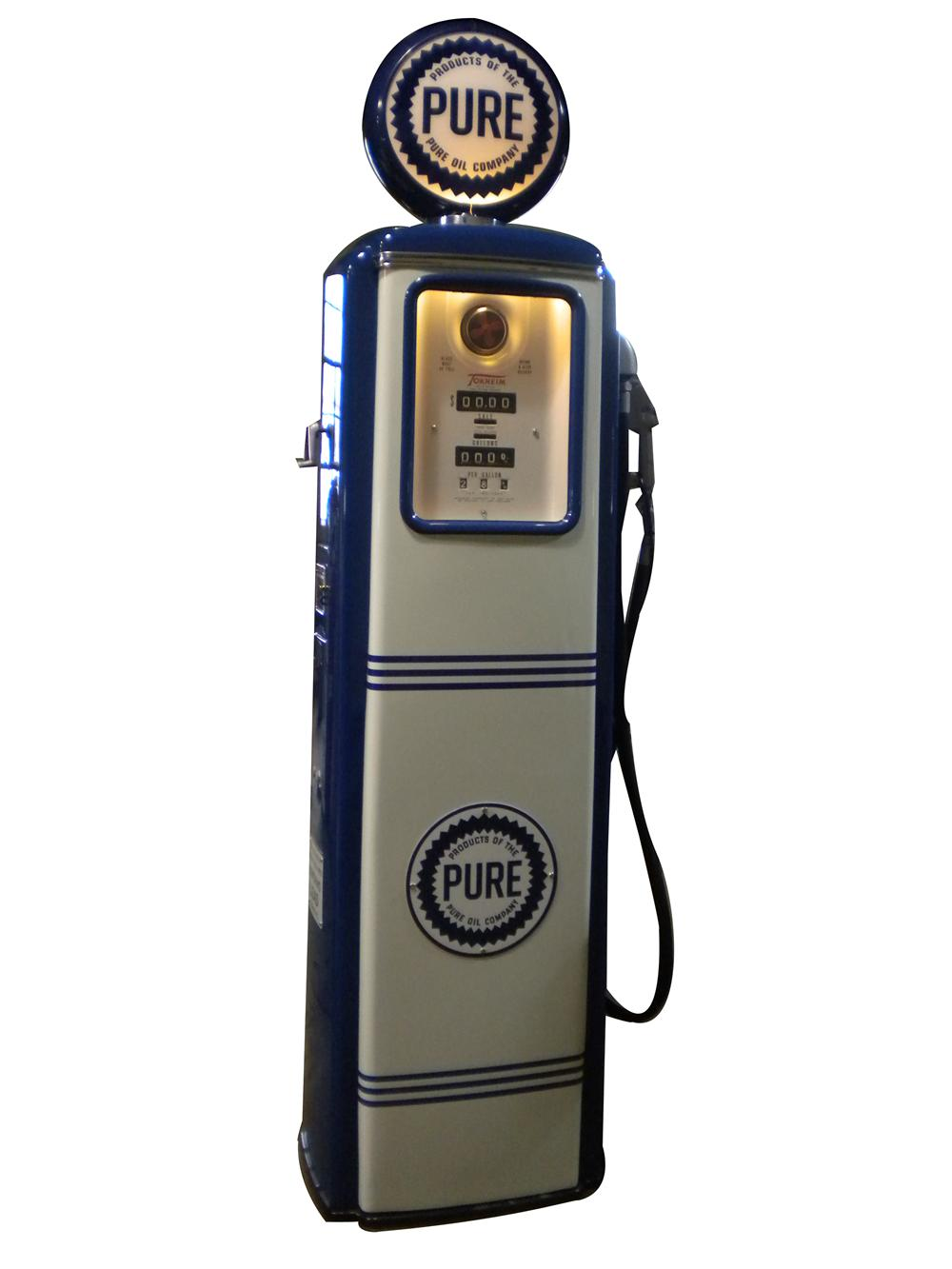 Sharp late 1940s-early 50s Pure Oil Tokheim model #39 restored service station gas pump. - Front 3/4 - 139893