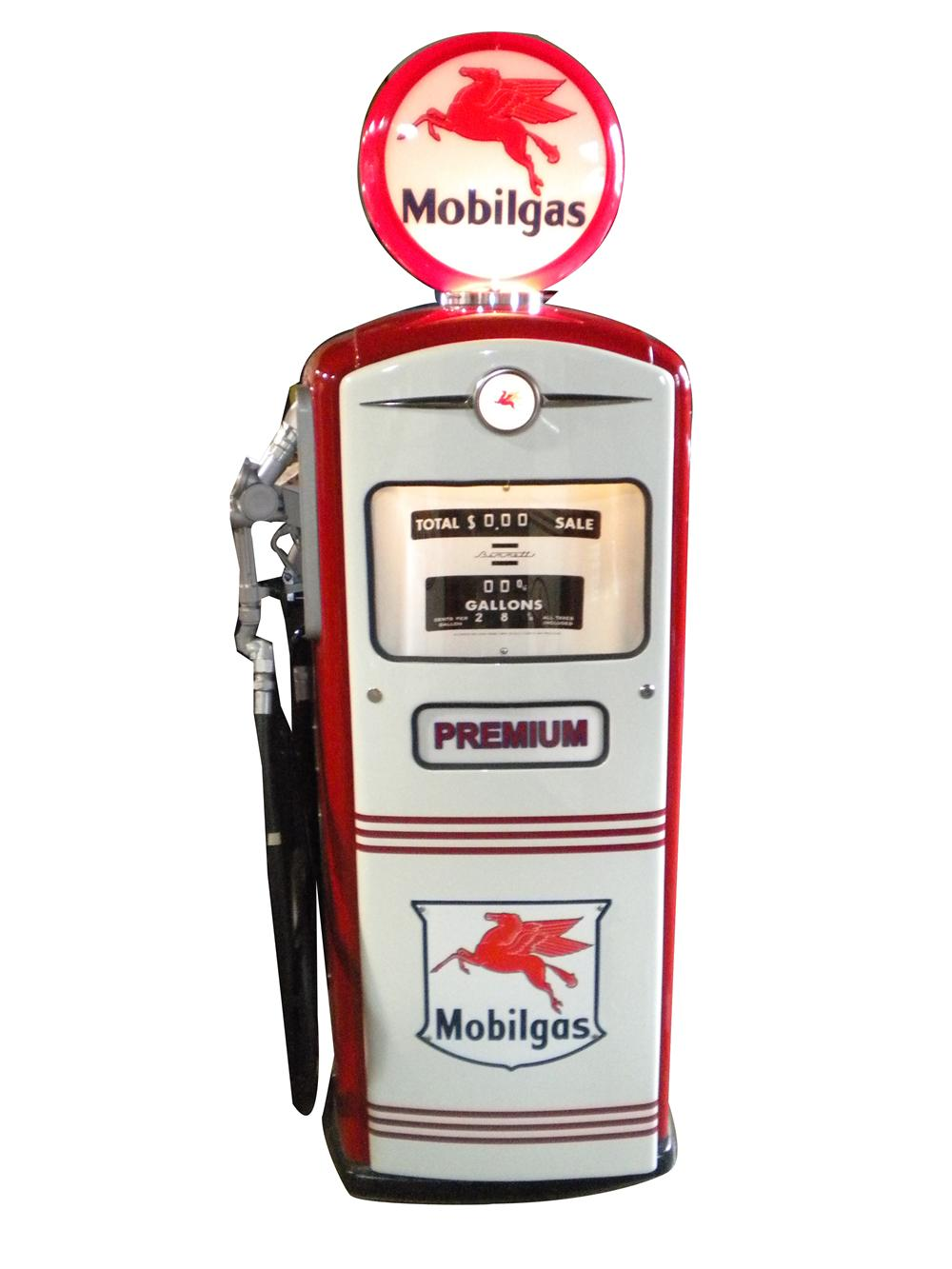 Exquisite 1950s Mobil Oil Bennett restored service station gas pump. - Front 3/4 - 139895