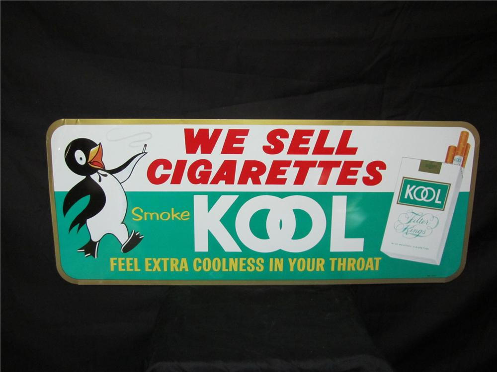 Addendum Item - Nifty vintage Kool Cigarettes horizontal tin sign with smoking Penguin graphic. - Front 3/4 - 144233