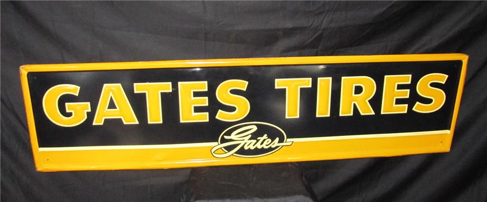 Addendum Item - Sharp Gates Tires horizontal embossed tin garage sign. - Front 3/4 - 144235