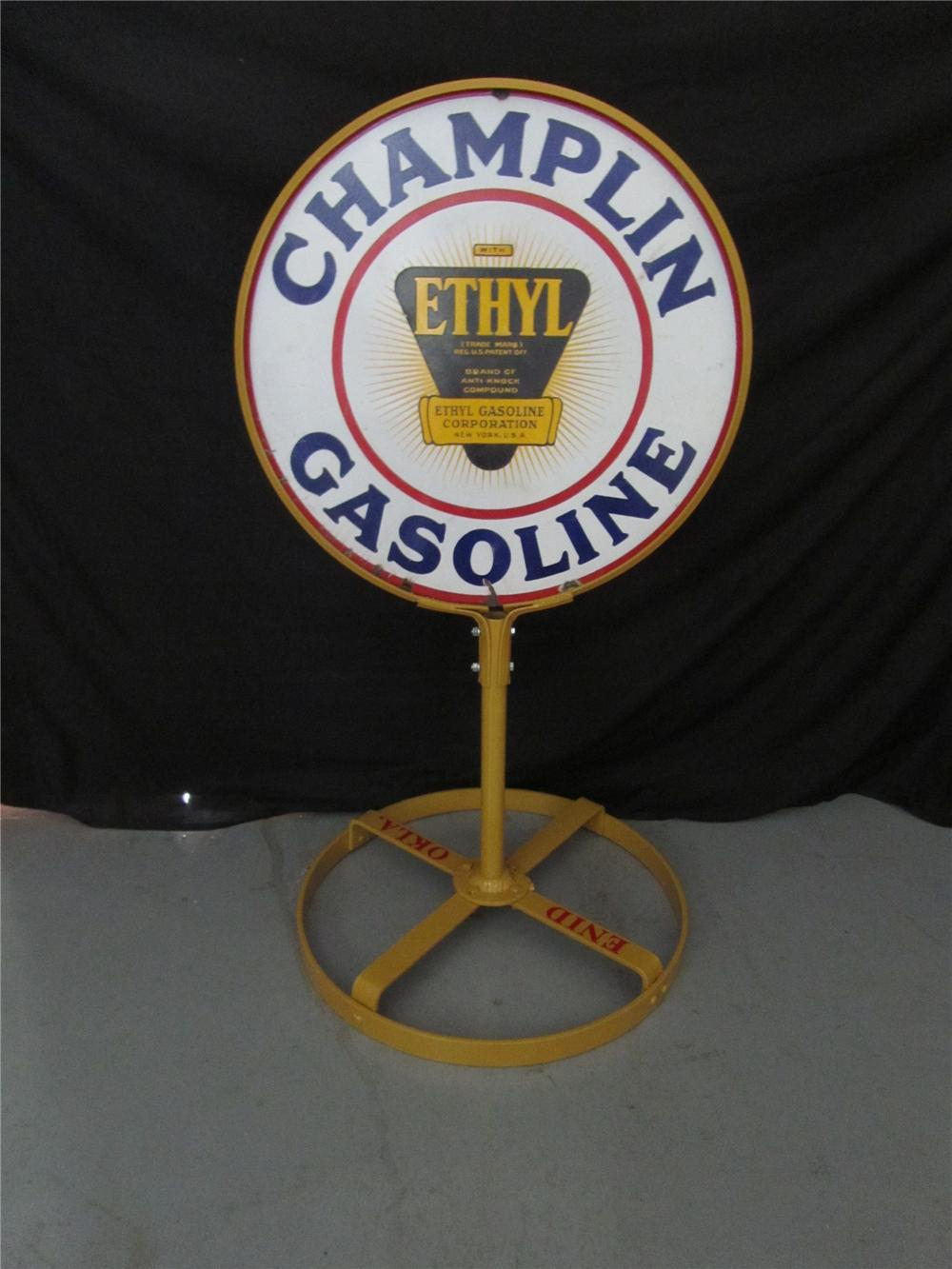 Addendum Item - Superb 1930s Champlin Gasoline with Ethyl double-sided porcelain curb sign on stand. - Front 3/4 - 144253
