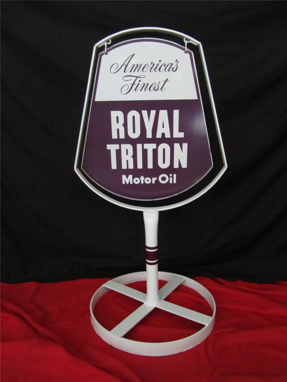 Addendum Item - Amazing 1950s Union 76 Royal Triton Gasoline double-sided porcelain curb sign. - Front 3/4 - 144314
