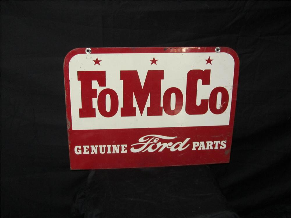 Addendum Item - Fabulous 1950s Ford FoMoCo Parts double-sided tin painted garage sign. - Front 3/4 - 144316