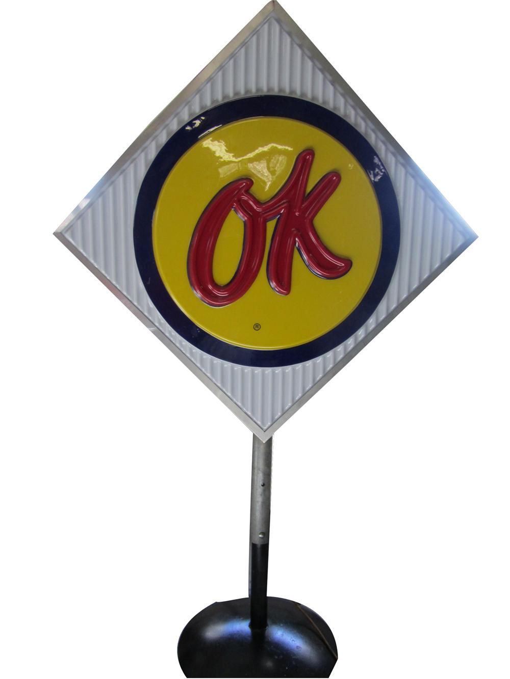 Addendum Item - Sharp 1950s-60s Chevrolet OK Used Cars light-up diamond shaped dealer sales lot sign on stand. - Front 3/4 - 144317